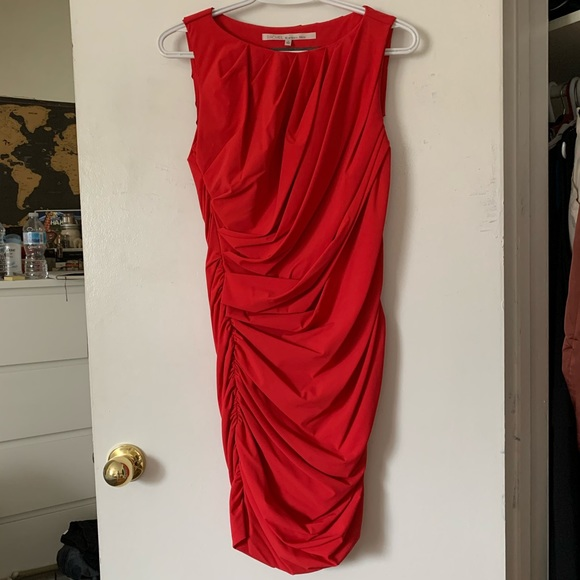 Rachel Roy Red ruched dress